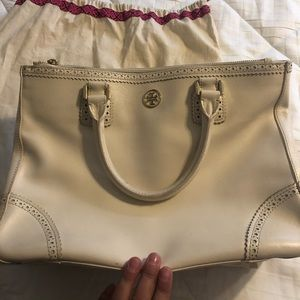 Tory Burch cream leather bag.